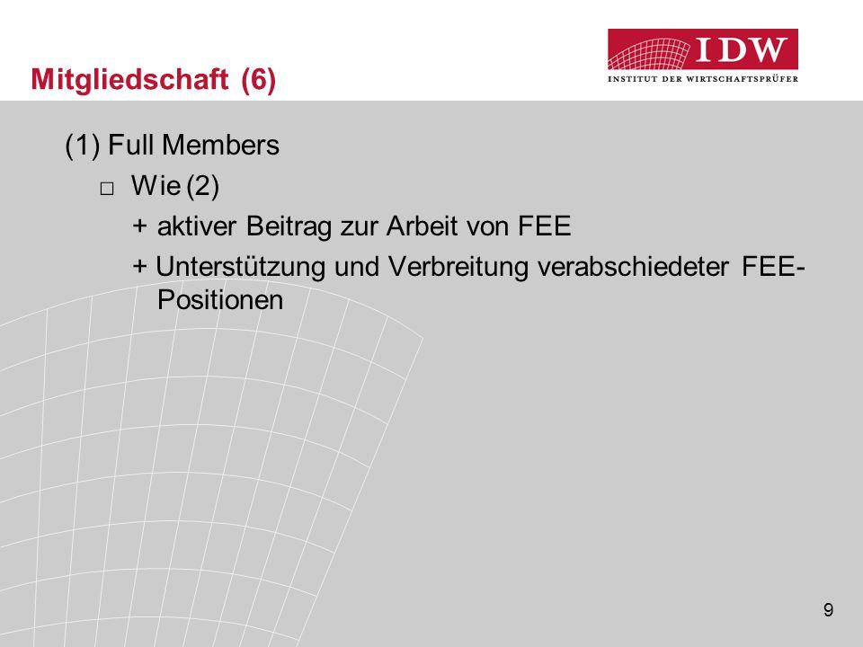 9 Mitgliedschaft (6) (1)Full Members □Wie (2) +aktiver Beitrag zur Arbeit von FEE + Unterstützung und Verbreitung verabschiedeter FEE- Positionen