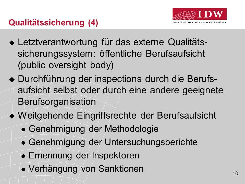 10 Qualitätssicherung (4)  Letztverantwortung für das externe Qualitäts- sicherungssystem: öffentliche Berufsaufsicht (public oversight body)  Durch