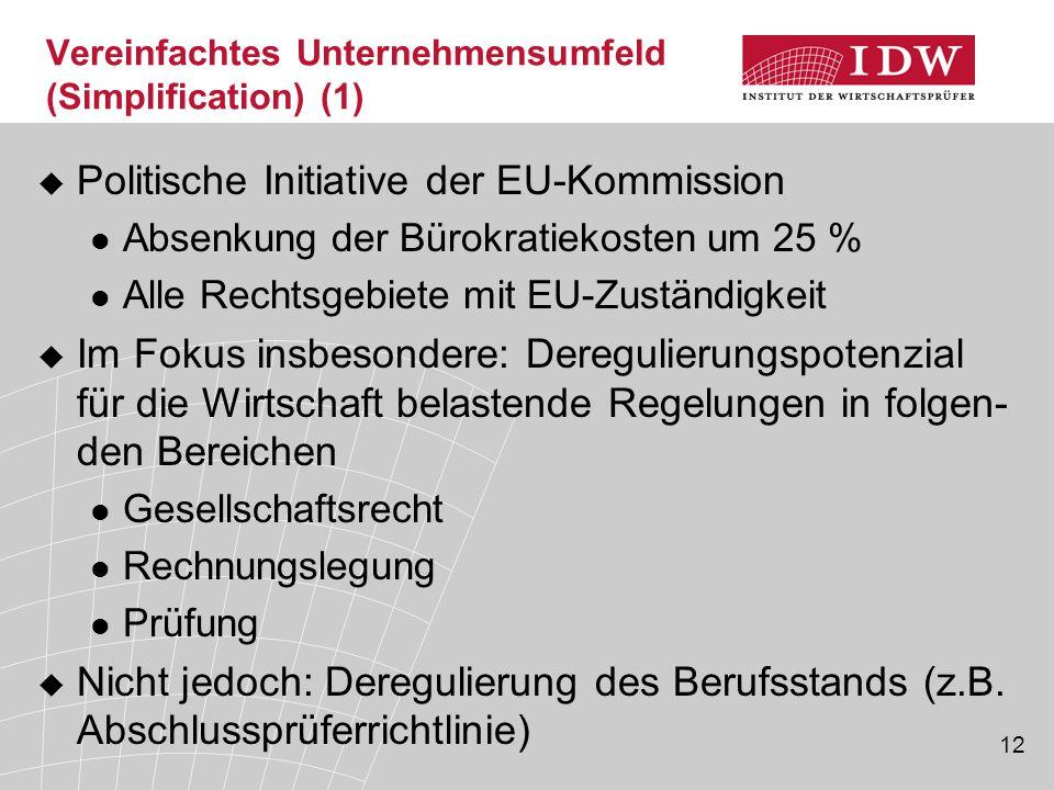 12 Vereinfachtes Unternehmensumfeld (Simplification) (1)  Politische Initiative der EU-Kommission Absenkung der Bürokratiekosten um 25 % Alle Rechtsg