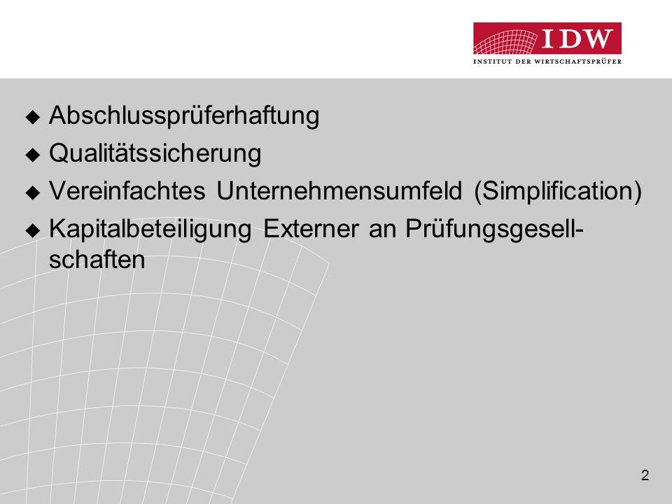 3 Abschlussprüferhaftung (1)  Auftrag der Abschlussprüfer-RL an die EU- Kommission (Art.