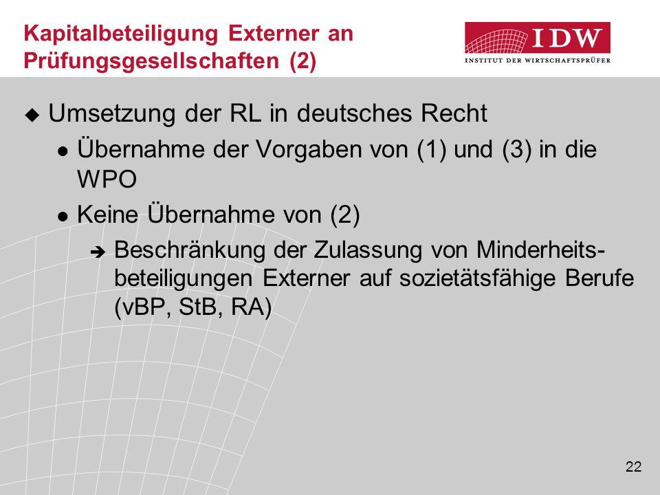 22 Kapitalbeteiligung Externer an Prüfungsgesellschaften (2)  Umsetzung der RL in deutsches Recht Übernahme der Vorgaben von (1) und (3) in die WPO K