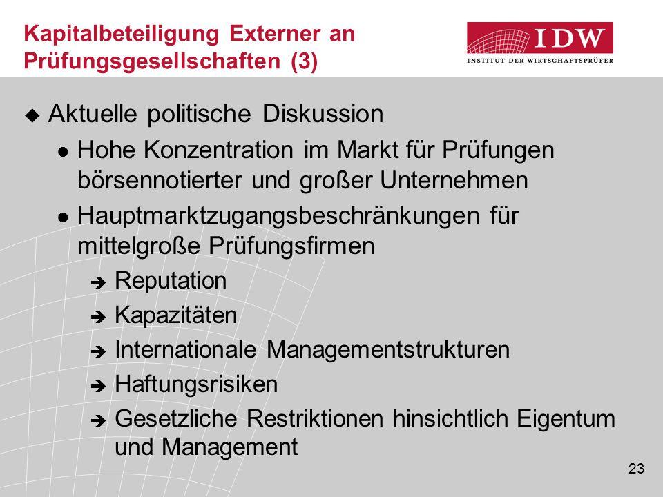 23 Kapitalbeteiligung Externer an Prüfungsgesellschaften (3)  Aktuelle politische Diskussion Hohe Konzentration im Markt für Prüfungen börsennotierte