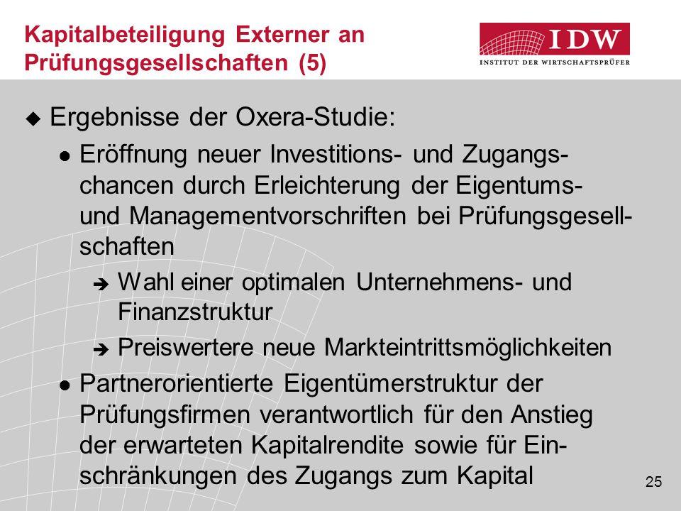 25 Kapitalbeteiligung Externer an Prüfungsgesellschaften (5)  Ergebnisse der Oxera-Studie: Eröffnung neuer Investitions- und Zugangs- chancen durch E