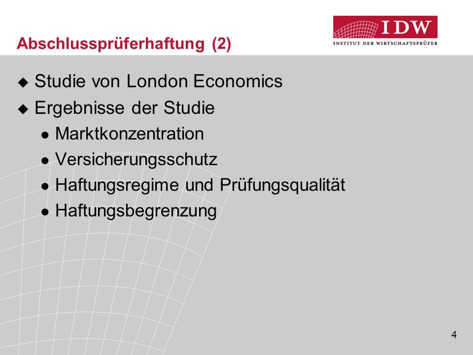 5 Abschlussprüferhaftung (3)  Konsultationspapier der EU-Kommission 4 Optionen zur Haftungsbegrenzung (1)Fixe betragsmäßige Grenze auf EU-Ebene (2)Größe des geprüften Unternehmens (Marktkapitalisierung) (3)Prüferhonorare (4)Proportionalhaftung