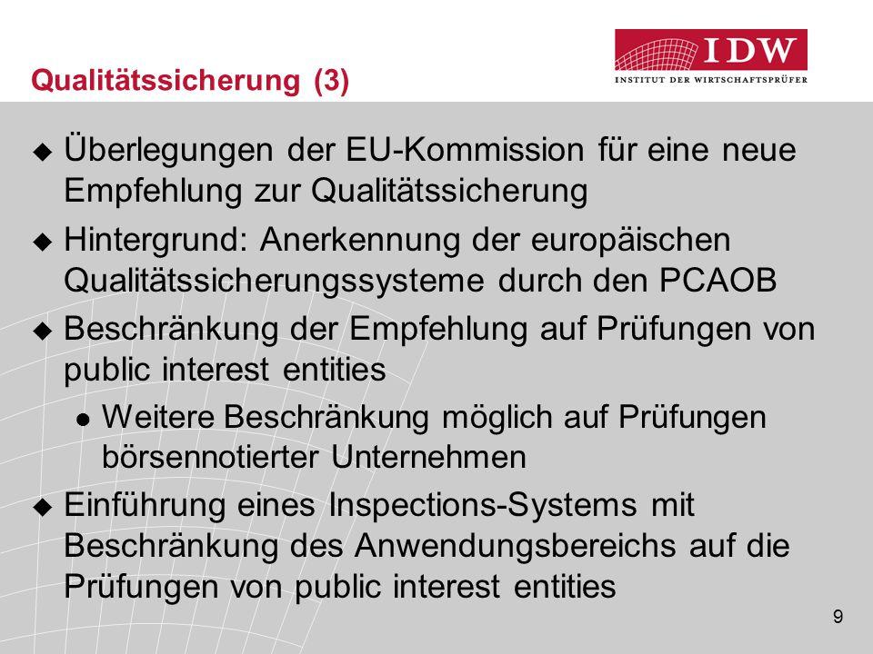 9 Qualitätssicherung (3)  Überlegungen der EU-Kommission für eine neue Empfehlung zur Qualitätssicherung  Hintergrund: Anerkennung der europäischen