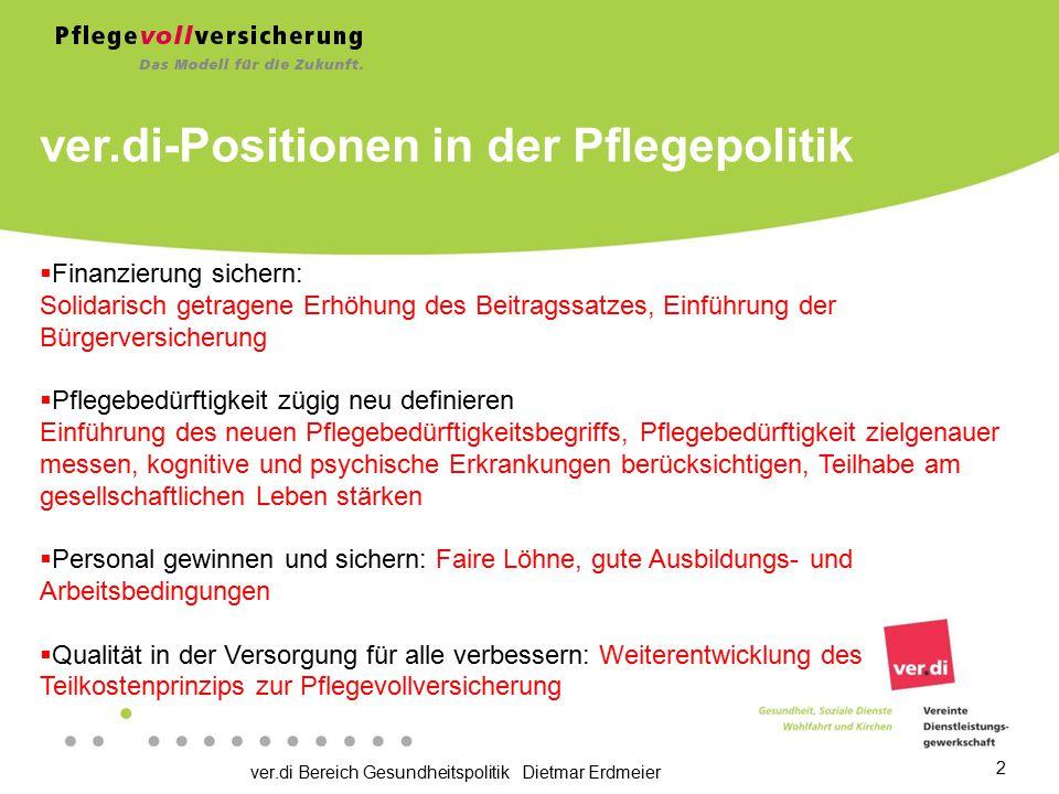 ver.di Bereich Gesundheitspolitik Dietmar Erdmeier 2 ver.di-Positionen in der Pflegepolitik  Finanzierung sichern: Solidarisch getragene Erhöhung des