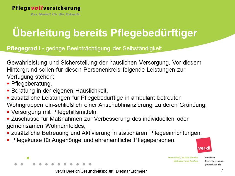 ver.di Bereich Gesundheitspolitik Dietmar Erdmeier 7 Pflegegrad I - geringe Beeinträchtigung der Selbständigkeit Gewährleistung und Sicherstellung der