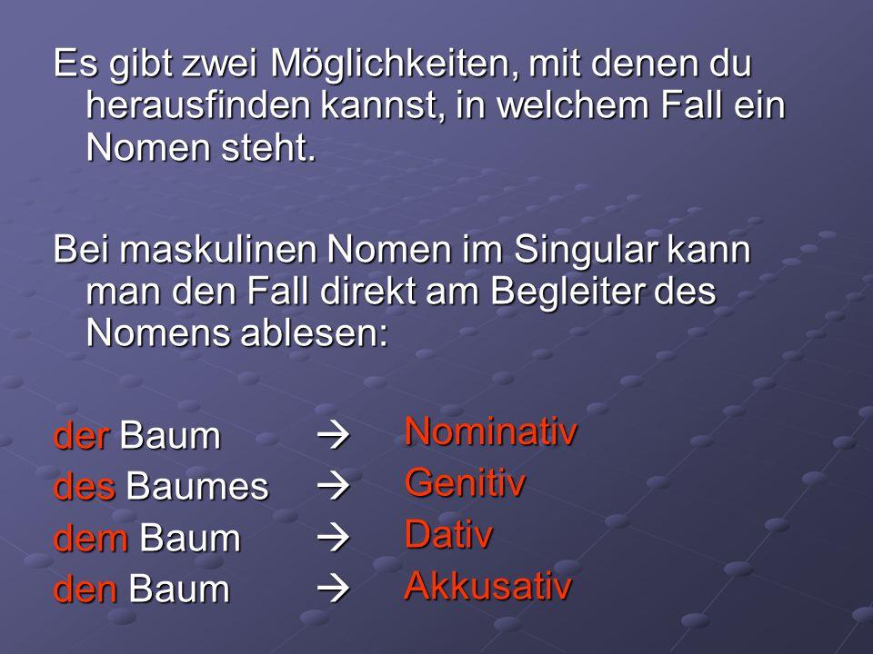 Es gibt zwei Möglichkeiten, mit denen du herausfinden kannst, in welchem Fall ein Nomen steht.