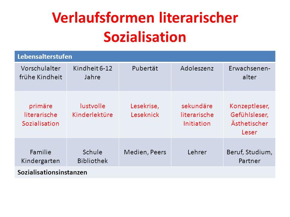 Verlaufsformen literarischer Sozialisation Lebensalterstufen Vorschulalter frühe Kindheit Kindheit 6-12 Jahre PubertätAdoleszenzErwachsenen- alter pri