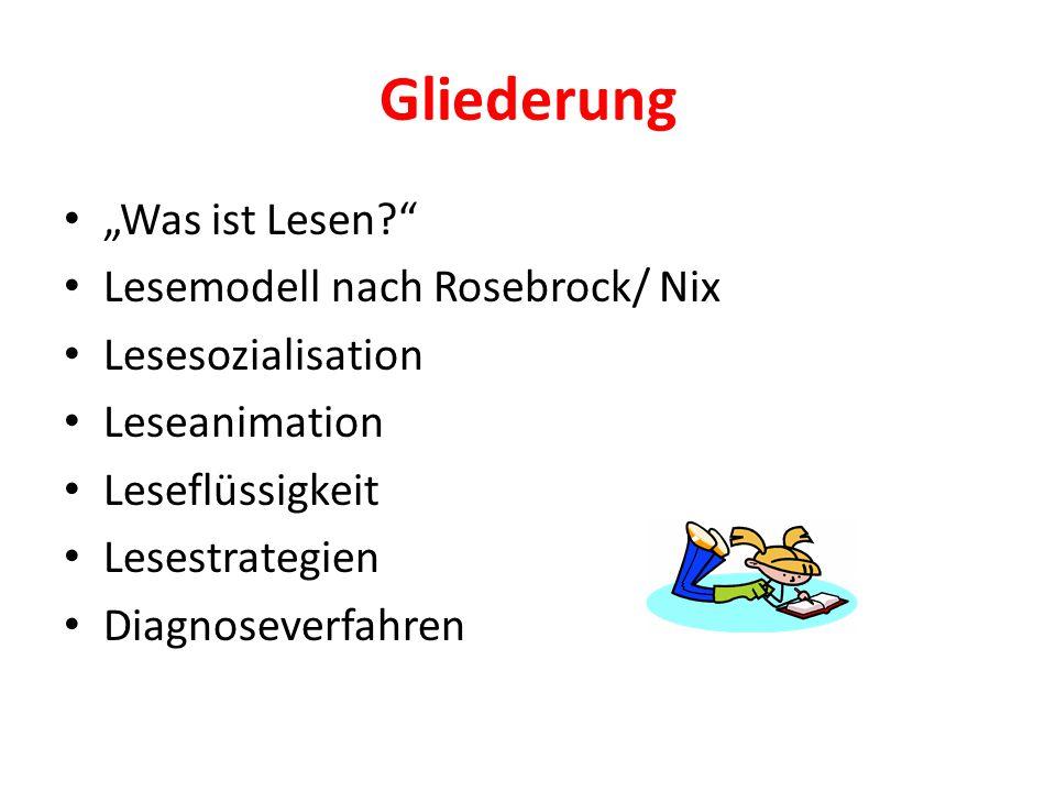 """Gliederung """"Was ist Lesen?"""" Lesemodell nach Rosebrock/ Nix Lesesozialisation Leseanimation Leseflüssigkeit Lesestrategien Diagnoseverfahren"""