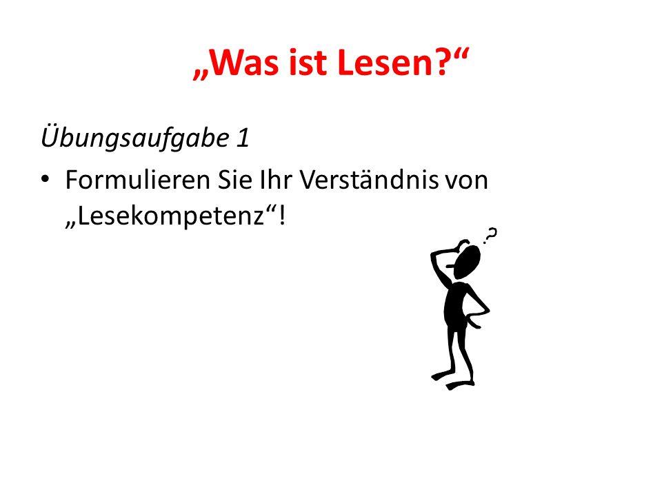 """""""Was macht gute Leser aus? Übungsaufgabe 2 Lesen Sie bitte diesen Satz laut vor: Die Stadt liegt in in der Mitte von Deutschland."""