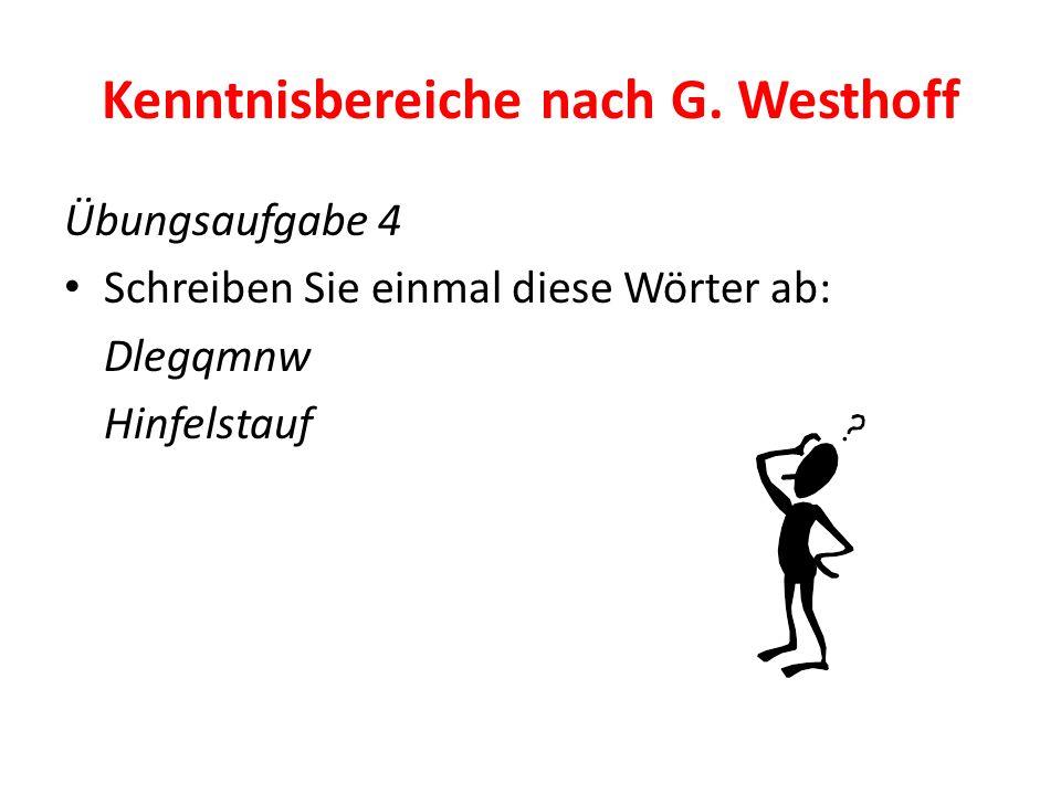 Kenntnisbereiche nach G. Westhoff Übungsaufgabe 4 Schreiben Sie einmal diese Wörter ab: Dlegqmnw Hinfelstauf