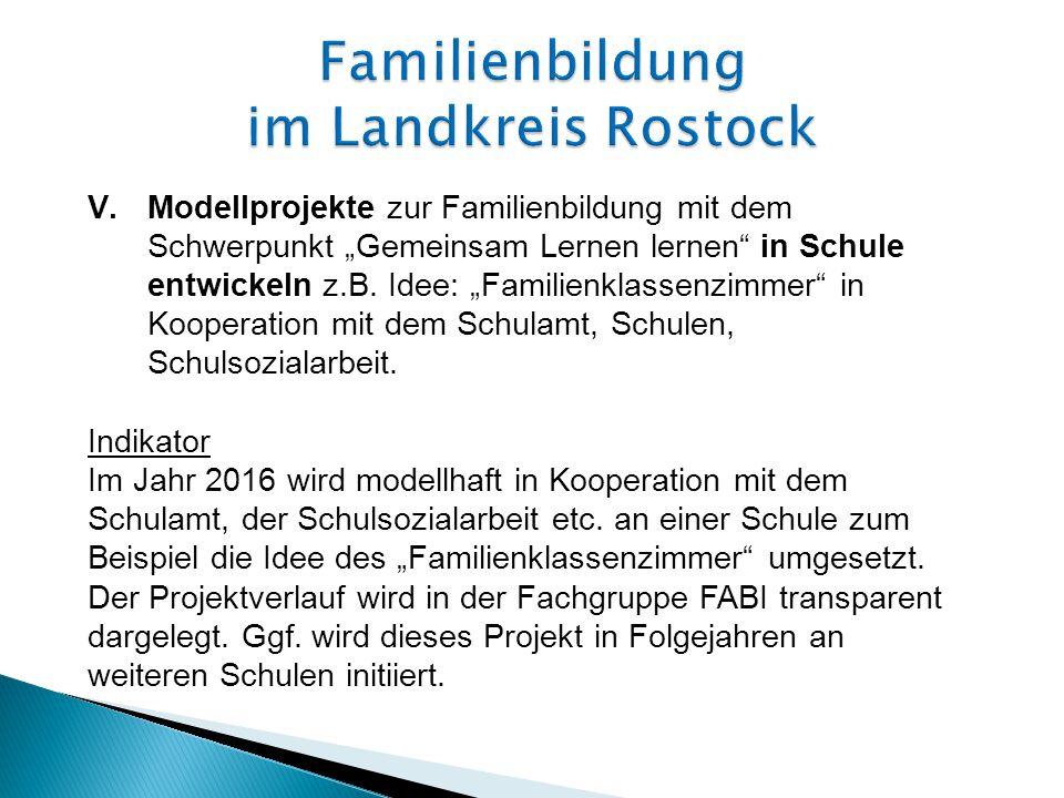 """V.Modellprojekte zur Familienbildung mit dem Schwerpunkt """"Gemeinsam Lernen lernen in Schule entwickeln z.B."""
