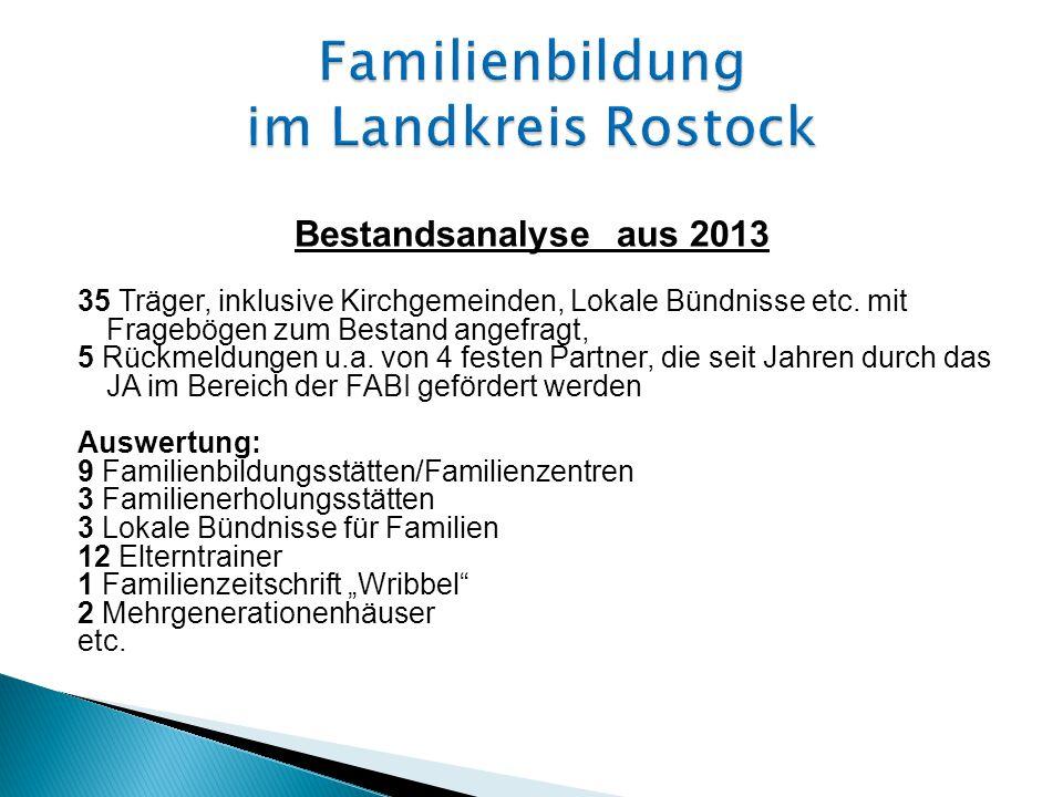 Bestandsanalyse aus 2013 35 Träger, inklusive Kirchgemeinden, Lokale Bündnisse etc.