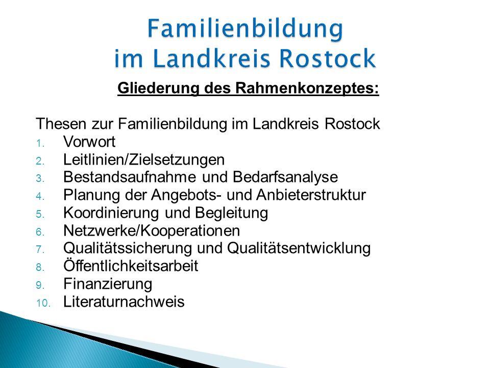 Gliederung des Rahmenkonzeptes: Thesen zur Familienbildung im Landkreis Rostock 1.