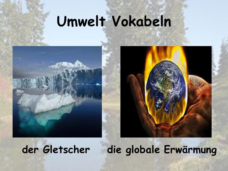 Umwelt Vokabeln die globale Erwärmungder Gletscher