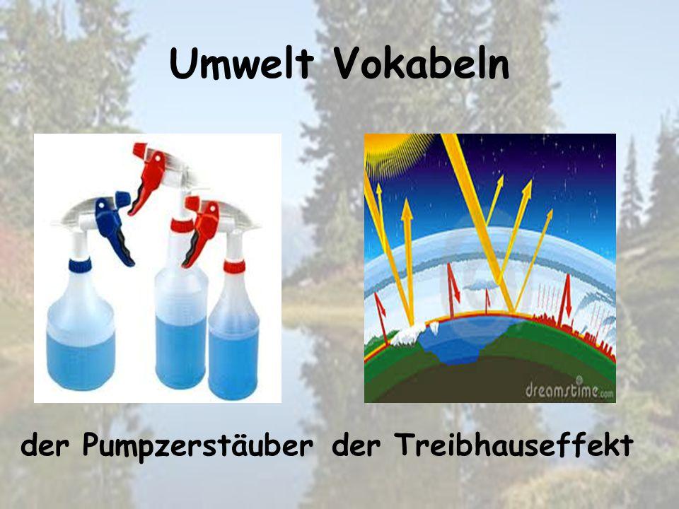 Umwelt Vokabeln der Treibhauseffektder Pumpzerstäuber