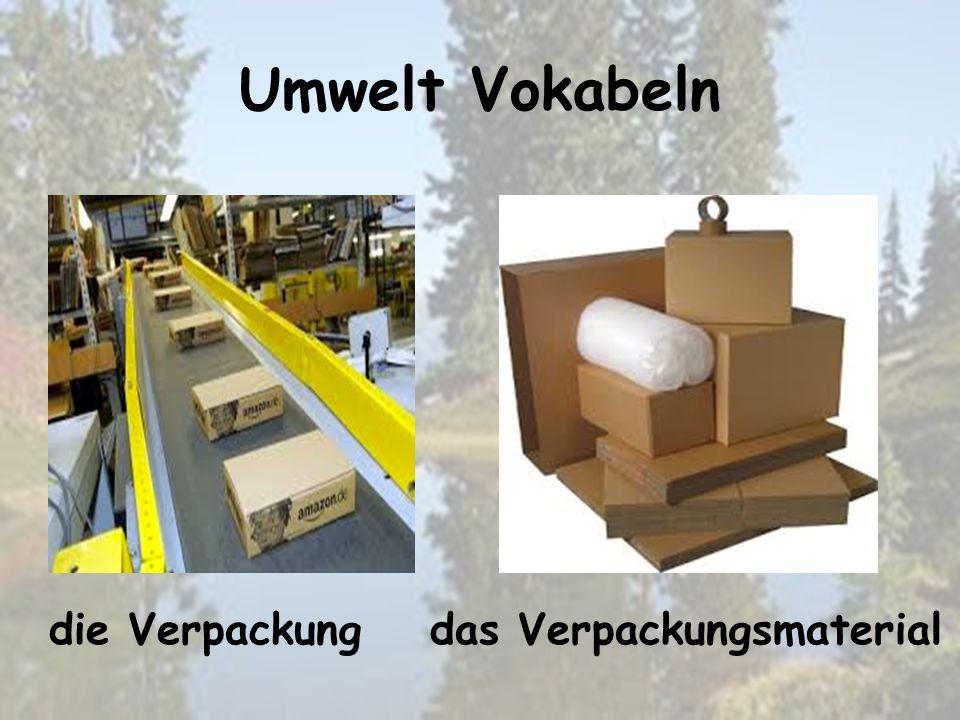 Umwelt Vokabeln das Verpackungsmaterialdie Verpackung
