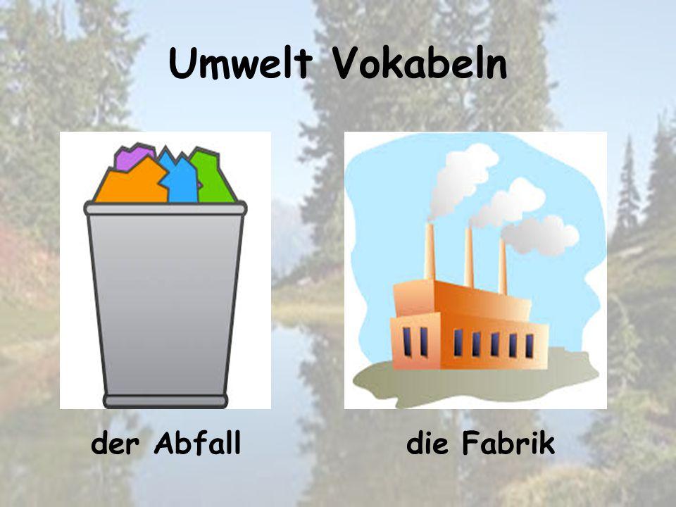 Umwelt Vokabeln die Fabrikder Abfall