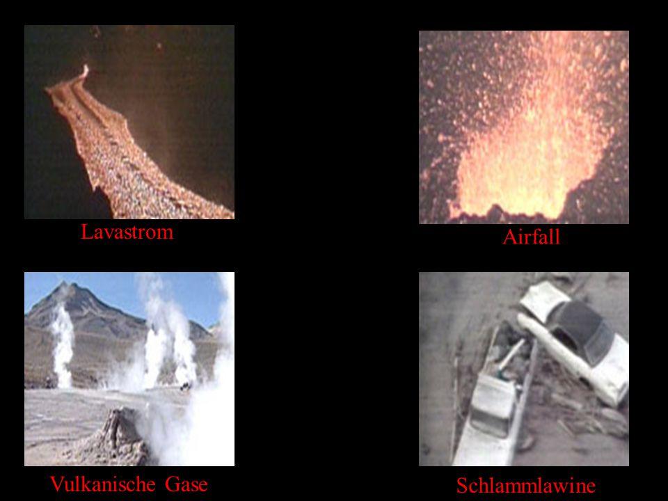 Lavastrom Vulkanische Gase Airfall Schlammlawine