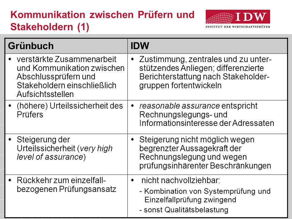13 Kommunikation zwischen Prüfern und Stakeholdern (1) GrünbuchIDW  verstärkte Zusammenarbeit und Kommunikation zwischen Abschlussprüfern und Stakeho
