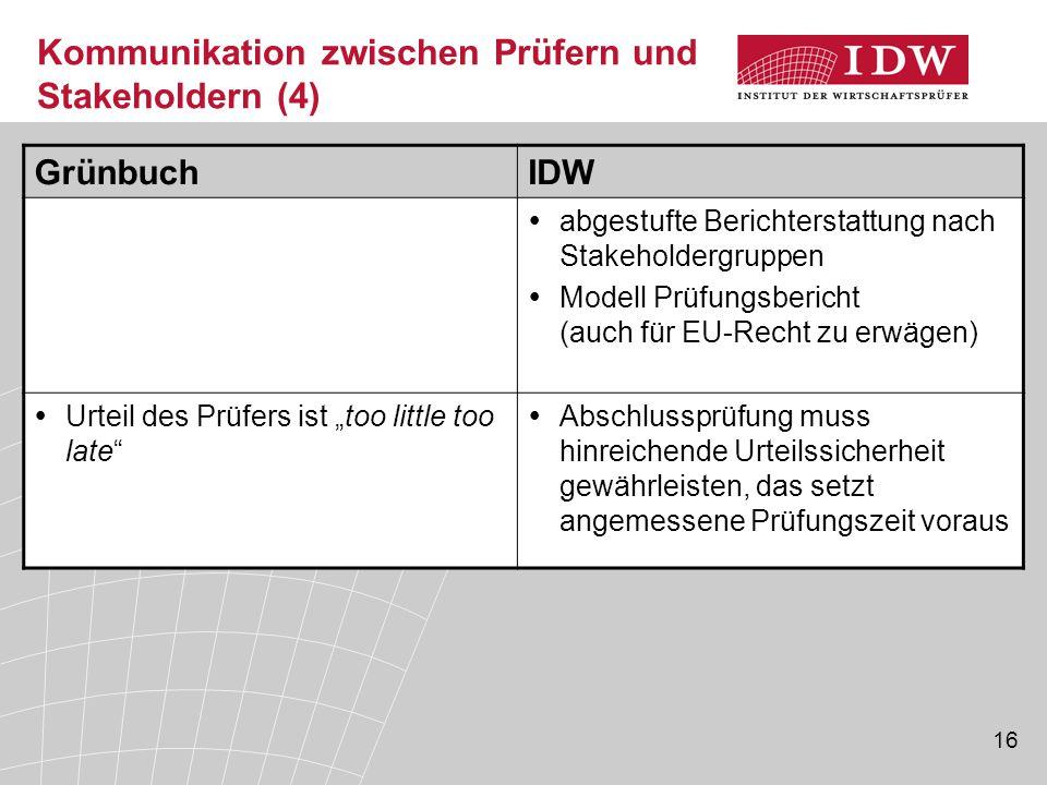 16 Kommunikation zwischen Prüfern und Stakeholdern (4) GrünbuchIDW  abgestufte Berichterstattung nach Stakeholdergruppen  Modell Prüfungsbericht (au