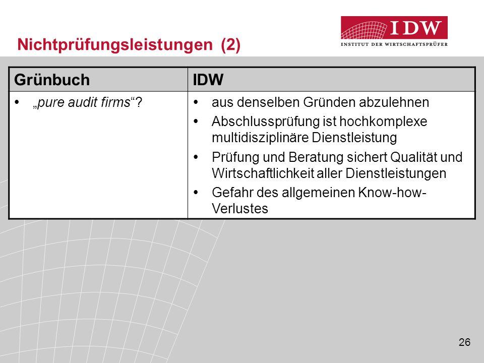 """26 Nichtprüfungsleistungen (2) GrünbuchIDW  """"pure audit firms""""?  aus denselben Gründen abzulehnen  Abschlussprüfung ist hochkomplexe multidisziplin"""