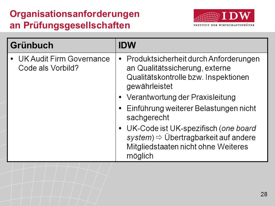 28 Organisationsanforderungen an Prüfungsgesellschaften GrünbuchIDW  UK Audit Firm Governance Code als Vorbild.