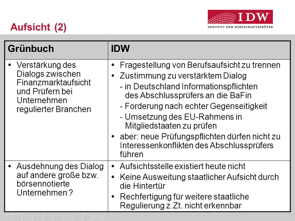 33 Aufsicht (2) GrünbuchIDW  Verstärkung des Dialogs zwischen Finanzmarktaufsicht und Prüfern bei Unternehmen regulierter Branchen  Fragestellung von Berufsaufsicht zu trennen  Zustimmung zu verstärktem Dialog - in Deutschland Informationspflichten des Abschlussprüfers an die BaFin - Forderung nach echter Gegenseitigkeit - Umsetzung des EU-Rahmens in Mitgliedstaaten zu prüfen  aber: neue Prüfungspflichten dürfen nicht zu Interessenkonflikten des Abschlussprüfers führen  Ausdehnung des Dialog auf andere große bzw.