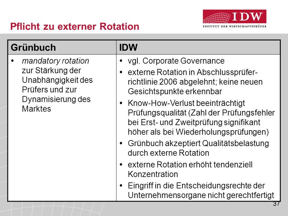 37 Pflicht zu externer Rotation GrünbuchIDW  mandatory rotation zur Stärkung der Unabhängigkeit des Prüfers und zur Dynamisierung des Marktes  vgl.