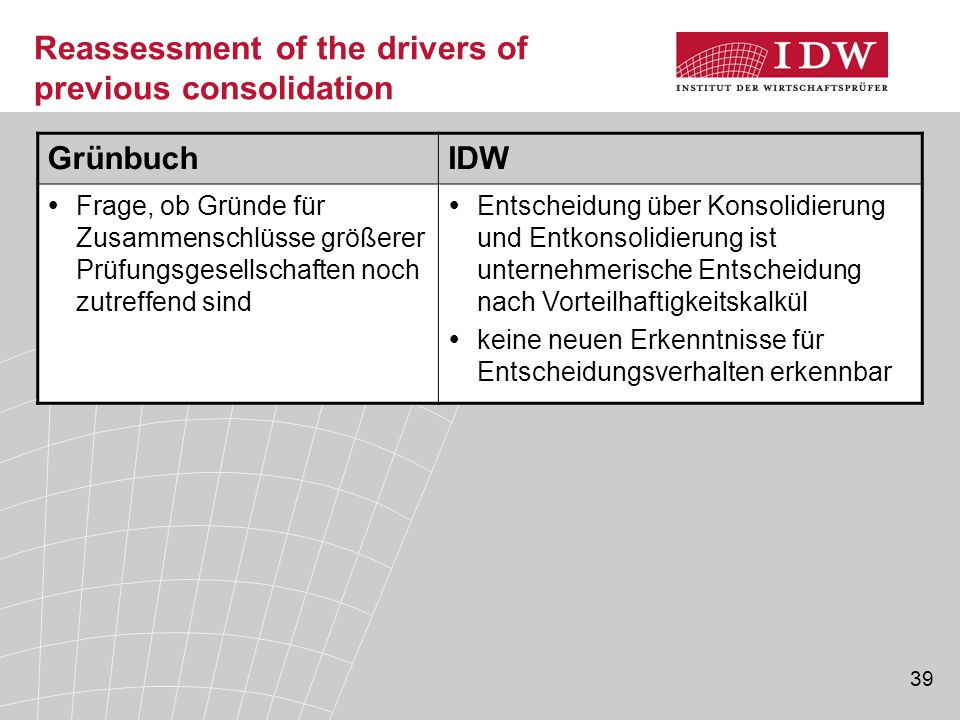 39 Reassessment of the drivers of previous consolidation GrünbuchIDW  Frage, ob Gründe für Zusammenschlüsse größerer Prüfungsgesellschaften noch zutr