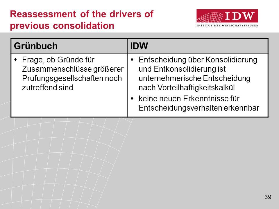 39 Reassessment of the drivers of previous consolidation GrünbuchIDW  Frage, ob Gründe für Zusammenschlüsse größerer Prüfungsgesellschaften noch zutr