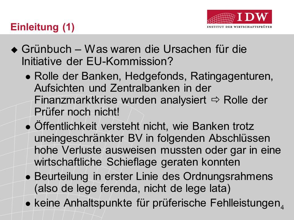 4 Einleitung (1)  Grünbuch – Was waren die Ursachen für die Initiative der EU-Kommission? Rolle der Banken, Hedgefonds, Ratingagenturen, Aufsichten u