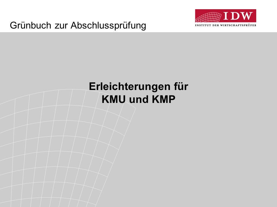 Grünbuch zur Abschlussprüfung Erleichterungen für KMU und KMP