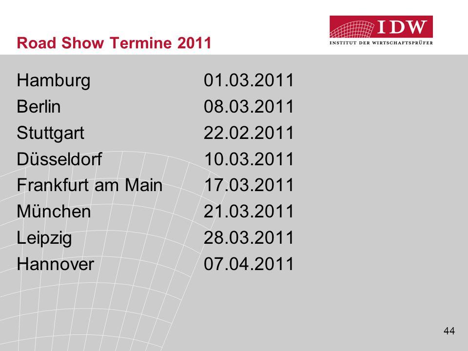 44 Road Show Termine 2011 Hamburg01.03.2011 Berlin08.03.2011 Stuttgart22.02.2011 Düsseldorf10.03.2011 Frankfurt am Main17.03.2011 München21.03.2011 Leipzig28.03.2011 Hannover07.04.2011