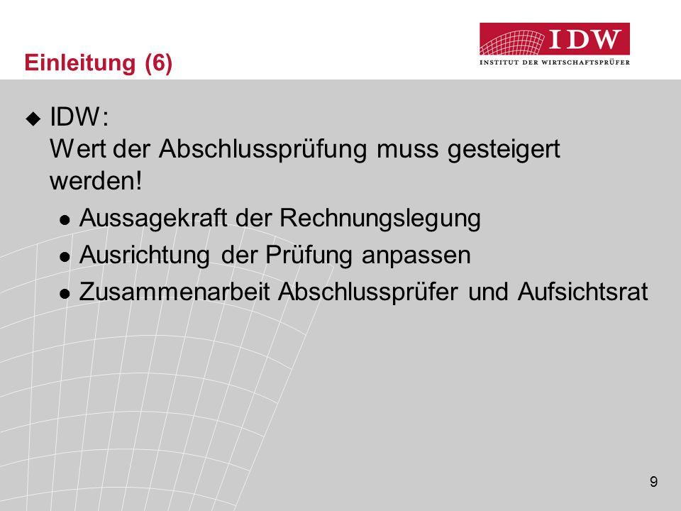 9 Einleitung (6)  IDW: Wert der Abschlussprüfung muss gesteigert werden! Aussagekraft der Rechnungslegung Ausrichtung der Prüfung anpassen Zusammenar