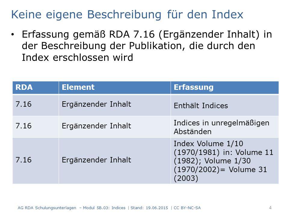 Keine eigene Beschreibung für den Index Erfassung gemäß RDA 7.16 (Ergänzender Inhalt) in der Beschreibung der Publikation, die durch den Index erschlossen wird AG RDA Schulungsunterlagen – Modul 5B.03: Indices | Stand: 19.06.2015 | CC BY-NC-SA 4 RDAElementErfassung 7.16Ergänzender Inhalt Enthält Indices 7.16Ergänzender Inhalt Indices in unregelmäßigen Abständen 7.16Ergänzender Inhalt Index Volume 1/10 (1970/1981) in: Volume 11 (1982); Volume 1/30 (1970/2002)= Volume 31 (2003)