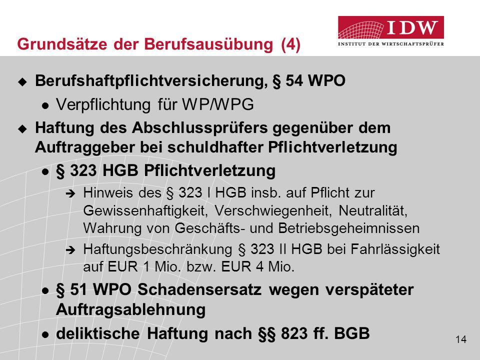 14  Berufshaftpflichtversicherung, § 54 WPO Verpflichtung für WP/WPG  Haftung des Abschlussprüfers gegenüber dem Auftraggeber bei schuldhafter Pflic