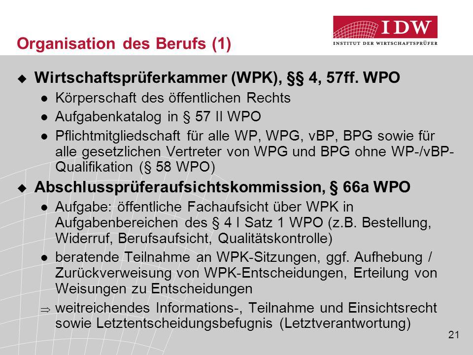 21 Organisation des Berufs (1)  Wirtschaftsprüferkammer (WPK), §§ 4, 57ff. WPO Körperschaft des öffentlichen Rechts Aufgabenkatalog in § 57 II WPO Pf