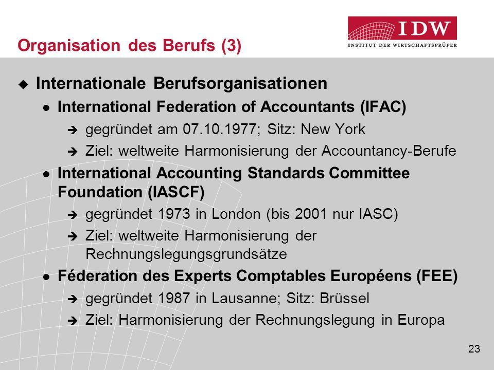 23 Organisation des Berufs (3)  Internationale Berufsorganisationen International Federation of Accountants (IFAC)  gegründet am 07.10.1977; Sitz: N