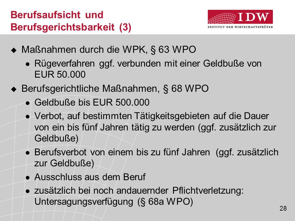 28 Berufsaufsicht und Berufsgerichtsbarkeit (3)  Maßnahmen durch die WPK, § 63 WPO Rügeverfahren ggf. verbunden mit einer Geldbuße von EUR 50.000  B