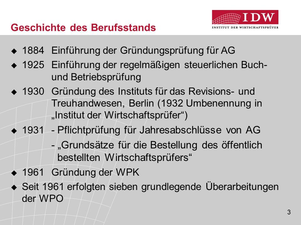 3 Geschichte des Berufsstands  1884 Einführung der Gründungsprüfung für AG  1925 Einführung der regelmäßigen steuerlichen Buch- und Betriebsprüfung