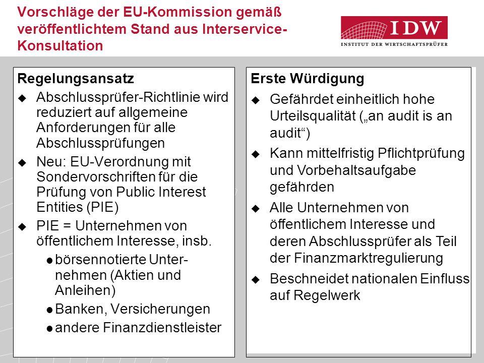 30 Vorschläge der EU-Kommission gemäß veröffentlichtem Stand aus Interservice- Konsultation Regelungsansatz  Abschlussprüfer-Richtlinie wird reduzier