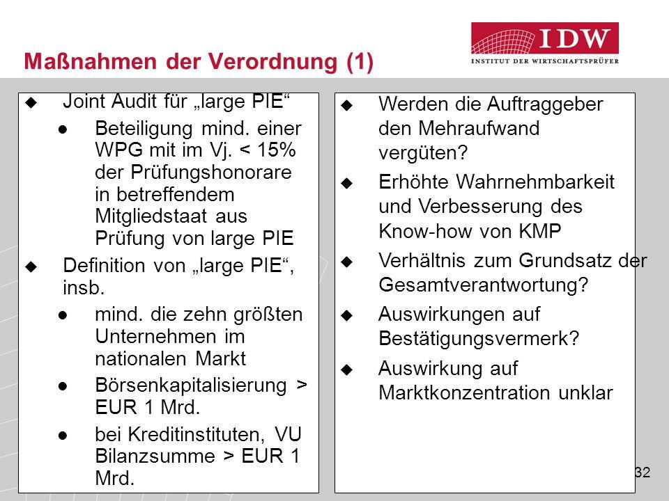 """32 Maßnahmen der Verordnung (1)  Joint Audit für """"large PIE"""" Beteiligung mind. einer WPG mit im Vj. < 15% der Prüfungshonorare in betreffendem Mitgli"""