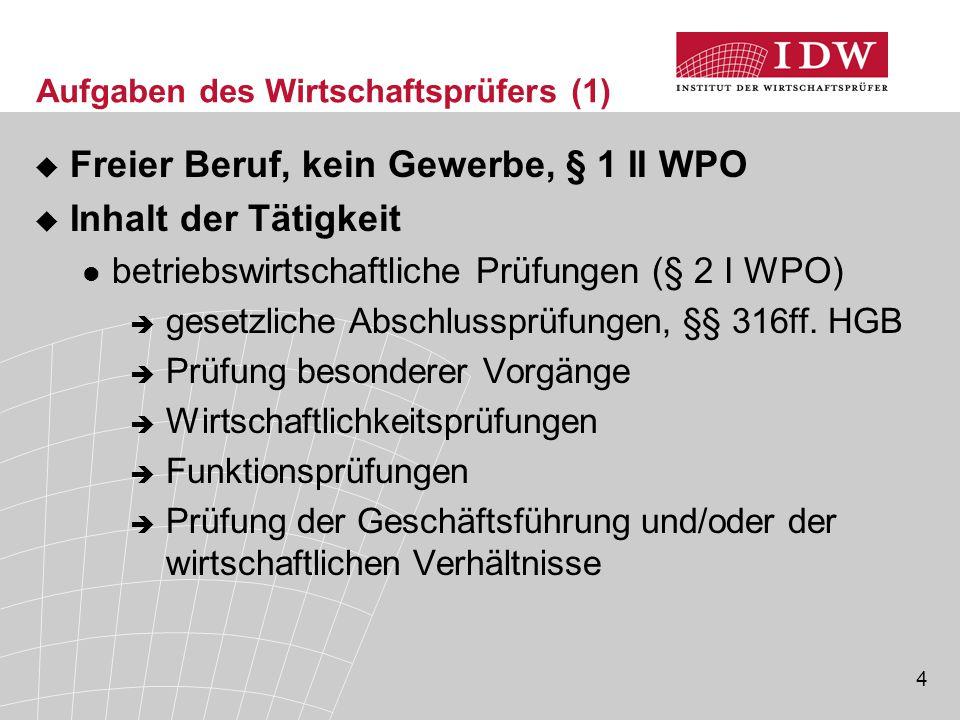 4 Aufgaben des Wirtschaftsprüfers (1)  Freier Beruf, kein Gewerbe, § 1 II WPO  Inhalt der Tätigkeit betriebswirtschaftliche Prüfungen (§ 2 I WPO) 