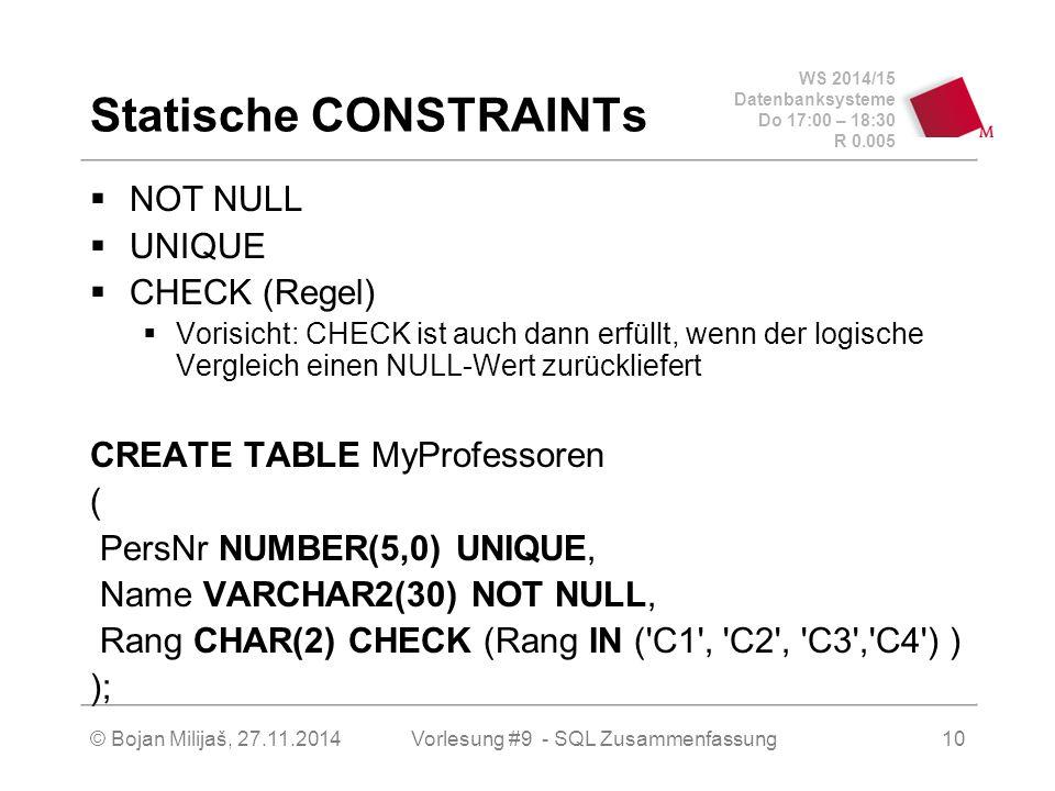 WS 2014/15 Datenbanksysteme Do 17:00 – 18:30 R 0.005 Statische CONSTRAINTs  NOT NULL  UNIQUE  CHECK (Regel)  Vorisicht: CHECK ist auch dann erfüllt, wenn der logische Vergleich einen NULL-Wert zurückliefert CREATE TABLE MyProfessoren ( PersNr NUMBER(5,0) UNIQUE, Name VARCHAR2(30) NOT NULL, Rang CHAR(2) CHECK (Rang IN ( C1 , C2 , C3 , C4 ) ) ); Vorlesung #9 - SQL Zusammenfassung© Bojan Milijaš, 27.11.201410
