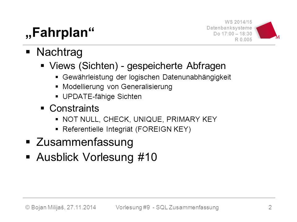 """WS 2014/15 Datenbanksysteme Do 17:00 – 18:30 R 0.005 Sichten (VIEWs)  """"Aussenstehende – d.h."""