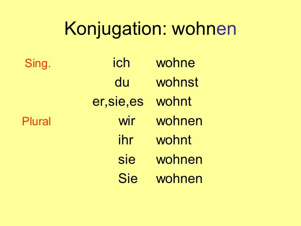 Konjugation: wohnen Sing.