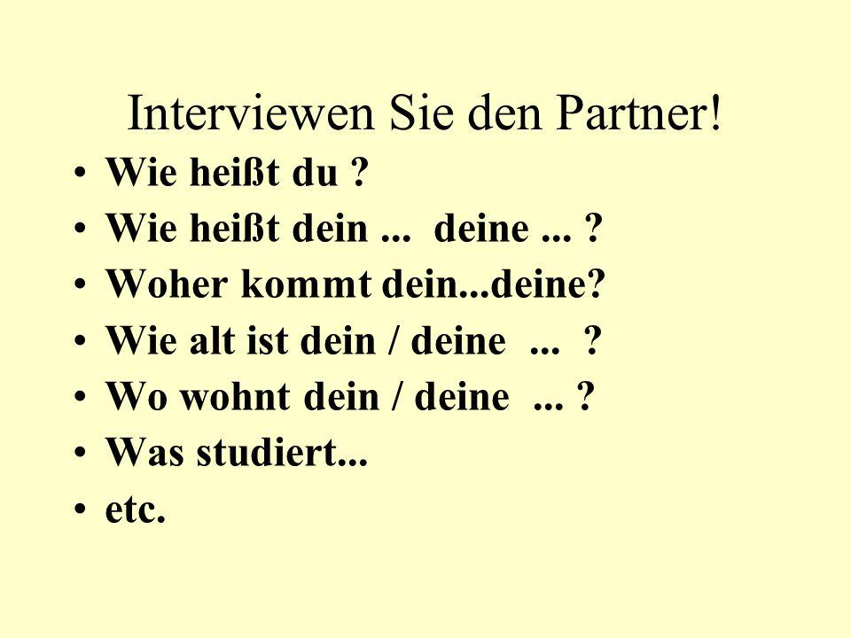 Interviewen Sie den Partner! Wie heißt du ? Wie heißt dein... deine... ? Woher kommt dein...deine? Wie alt ist dein / deine... ? Wo wohnt dein / deine