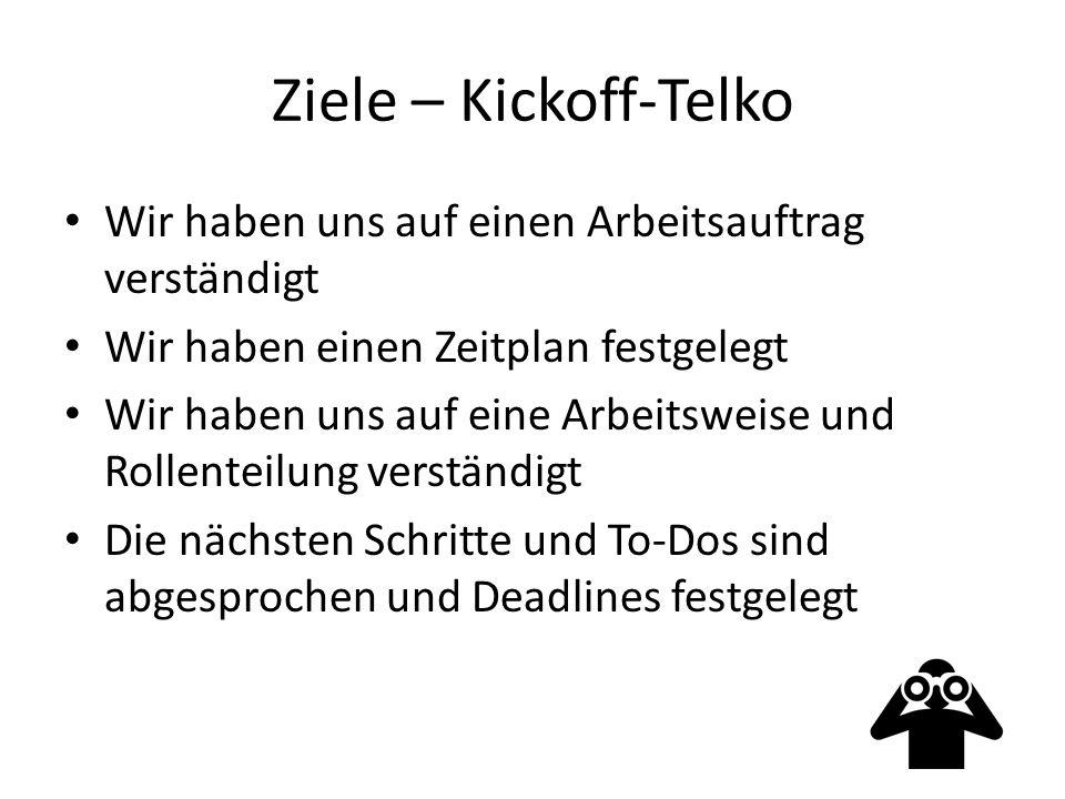 Ziele – Kickoff-Telko Wir haben uns auf einen Arbeitsauftrag verständigt Wir haben einen Zeitplan festgelegt Wir haben uns auf eine Arbeitsweise und Rollenteilung verständigt Die nächsten Schritte und To-Dos sind abgesprochen und Deadlines festgelegt